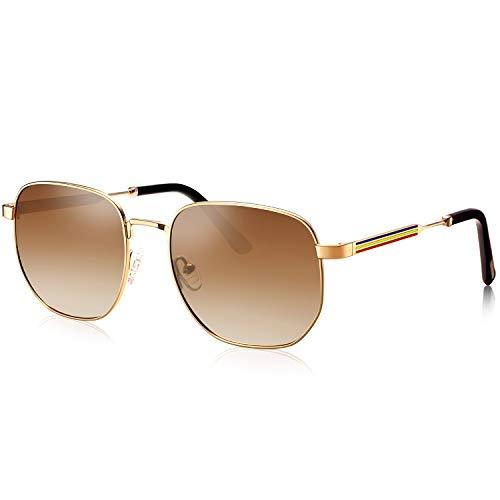 AVAWAY - Occhiali da sole polarizzati da uomo, protezione UV 400, montatura in metallo