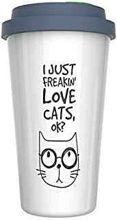 Ceramic Travel Coffee Mug with Lid (12 oz) - I Just Freakin' Love Cats, OK? - Funny Quote Novelty Coffee Mug - Gift For Cat Lovers - Double Wall Ceramic - BPA-Free Lid - Dishwasher Safe. 5.6
