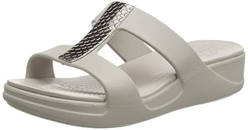 Crocs Damen Monterey Metallic Wedge Sandalen, Silber (Silver/Platinum 0go), 42/43 EU