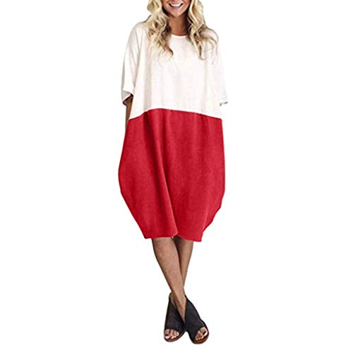 Lialbert T-Shirt-Kleid Skaterkleid Rundhals Dame Kleid Sommerkleid ÄRmeln Tunika Kurzes Elegant Elegant A-Linie Lockerer Freizeitkleid Maternity-Kleid Rot