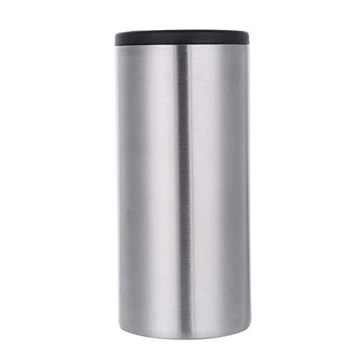 MINGMIN-DZ Durable Skinny Can Cooler 12oz Doble Pared Aislada Vacío Vacío Soporte de Acero Inoxidable Botella de Cerveza Slim Botella Frío (Color : Silver)