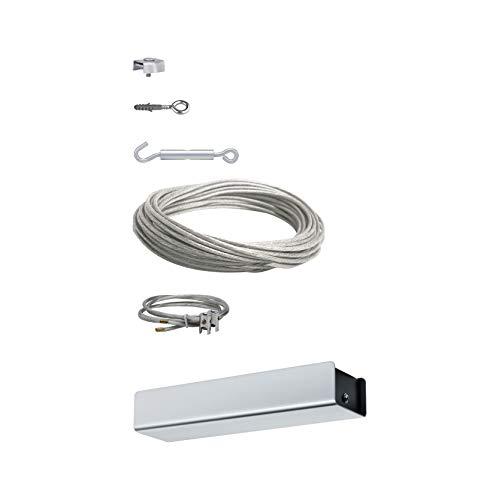 Paulmann 94096 Seil-Basissystem Trafo 36W 15 m Spann-Zubehör für Montage 230V/12V DC Chrom matt Basis-Seilsystem ohne Leuchten ohne Leuchtmittel