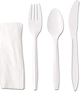 [50 Pack] White Plastic Cutlery Set with Napkin - Heavy Duty Knife Fork Spoon Napkin Set -Disposable Cutlery Set