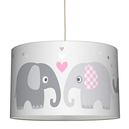 lovely label Hängelampe Elefanten ROSA/GRAU – Lampenschirm für Kinder/Baby, Schirm mit Elefanten – Komplette Hängeleuchte für Kinderzimmer Mädchen & Junge