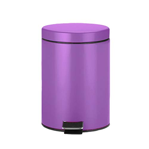 LICHUAN 5 litros de Pedal Bin, Metal Cocina Cuarto de baño WC Cubos de Basura Papelera con Tapa con la Oficina de Almacenamiento de residuos Contenedores for el hogar Baño Oficina (Color : A)