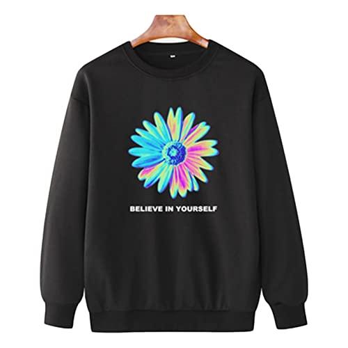 Suéter de Cuello Redondo de otoño e Invierno, Casual,Casual,de Manga Larga,Color sólido suéter (Color : Black, Size : 3XL)