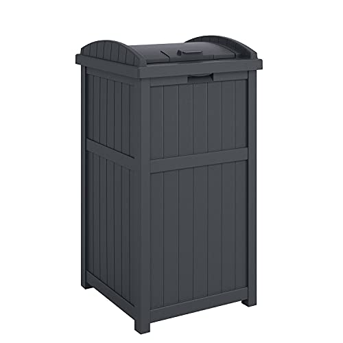 """Suncast GH1732C 15.75"""" x 16"""" x 31.6"""" Trashcan Hideaway Outdoor Commercial 33 Gallon 31.6"""" Resin Garbage Waste Bin with Lid in Cyberspace for Garage"""