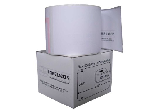 Houselabels HL-30384 2-1/4 x 7-1/2 Inches Dymo Compatible 2-Part Internet Postage Labels, 1 Roll, 150 Labels per Roll