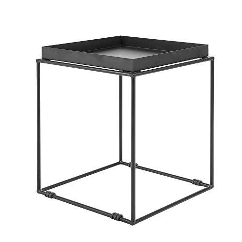 Beliani Tavolino Metallo Nero con Vassoio Design Industriale 50 x 40 x 40 cm Saxon