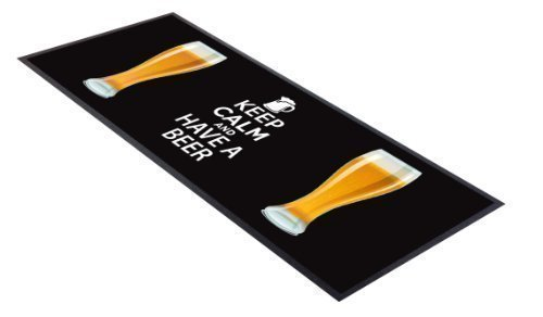 L&S PRINTS FOAM DESIGNS Keep Calm and Have a Beer schwarz Pint Design Bar Runner ideal für zuhause Bar Shop Cocktail Party Werbung Werkzeug Bar Matte