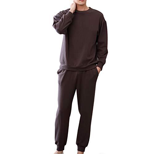綿100% パジャマ メンズ Perkisboby スウェット 上下セット 長袖 秋冬 コットン ルームウェア 男性用 部屋着 ルームウェア ゆったり 敏感肌 柔らかい (S, ブラウン)