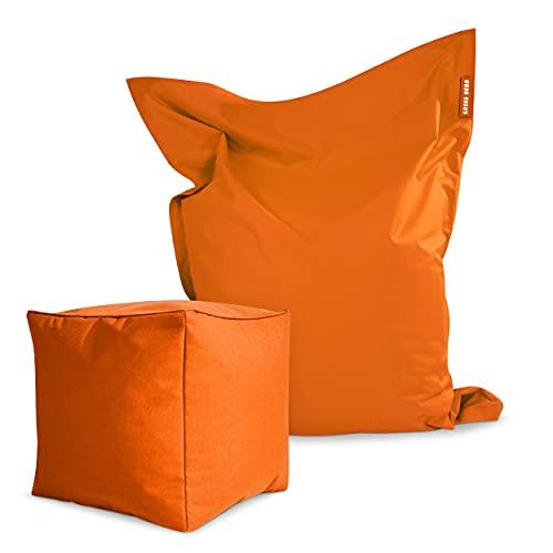 Green Bean  Set de 2 - Square XXL Beanbag + Dice Taburete - Relleno Incluido - Funda Lavable de Robusto PVC, Repelente al Agua - Interiores y Exteriores - para niños y Adultos - Naranja