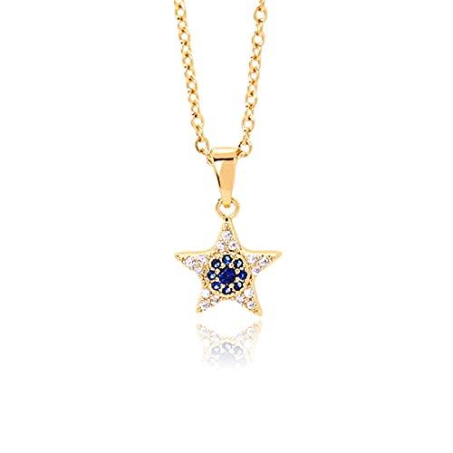 PDPDE 18K Real Pentagram Pentagrama Collar Colgante Mujer Yiwa Jewel Colgante Colgante