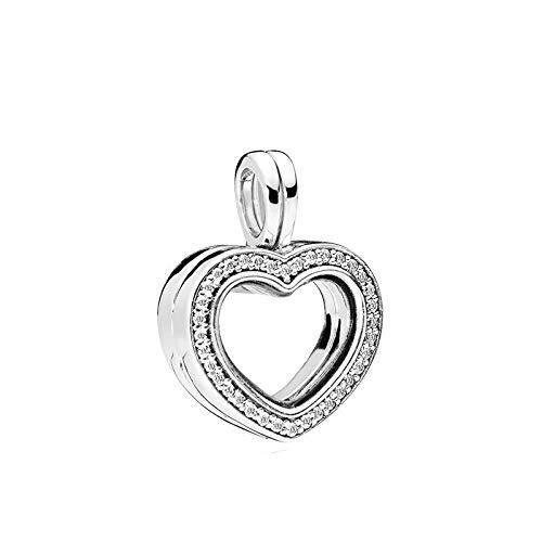 LILANG Pandora 925 joyería Pulsera Natural Brillante corazón Flotante medallón encantos para Plata esterlina Collar de Cuentas de Metal Bijoux Mujeres DIY Regalo