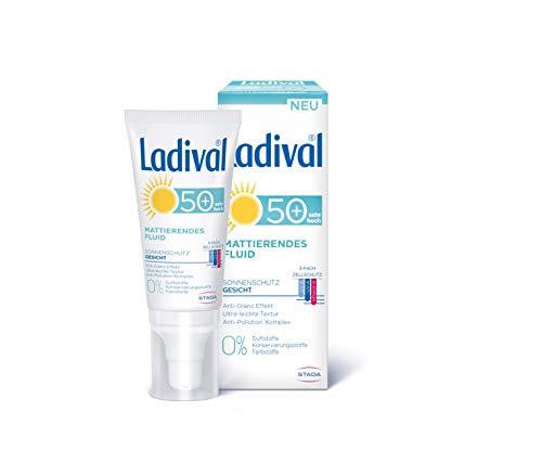 LADIVAL Mattierendes Fluid LSF 50+, Parfümfreies Sonnenfluid für das Gesicht mit Anti Glanz Effekt, ohne Farb- und Konservierungsstoffe, 50 ml, 167108, Lichtschutzfaktor 50+