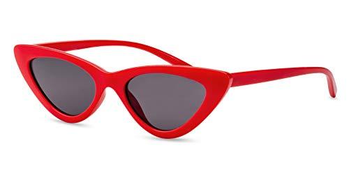 Primetta Schmale Cateye Sonnenbrille/Vintage Sonnenbrille für Damen/In Rot F2508780