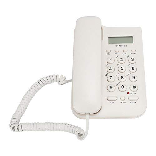 Vbestlife Teléfono Fijo con Cable, Pantalla de Alta Visibilidad, Teclas Grandes, Agenda para 30 contactos para el hogar/Oficina/Escuela (Blanco)