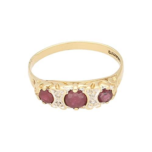 Anillo de mujer de oro amarillo de 9 quilates con diamantes y rubí de tres piedras (tamaño N) | Anillo de lujo para mujer