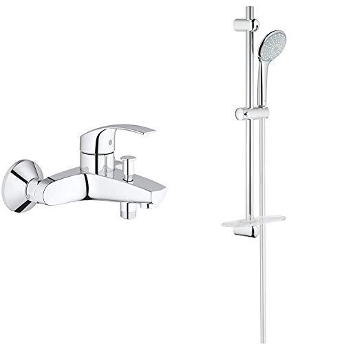 Grohe Eurosmart Grifo para baño y ducha, inversor automático, tecnología SilkMove (Ref. 33300002) + Euphoria 110 Duo Conjunto de ducha (600mm) con dos tipos de chorro (Ref. 27230001)