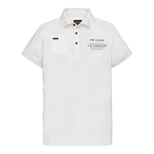 PME Legend Short Sleeve Polo Light Pique - Poloshirt, Größe_Bekleidung:L, Farbe:Bright White