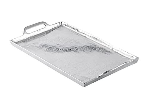 MichaelNoll Tablett Servierbrett Servierplatte Aluminium Silber Luxus - Serviertablett aus Metall - Silbertablett - L 53 cm