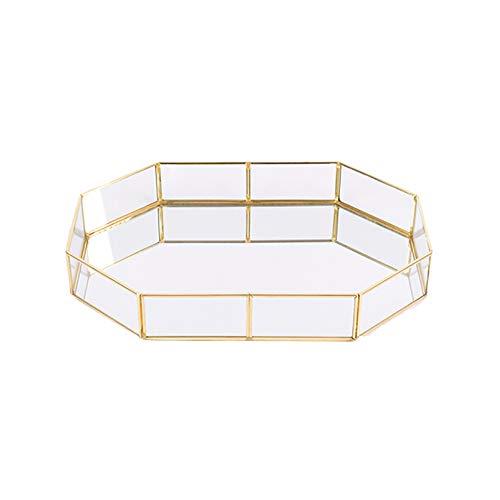 Asien Trompeta 1pc Decorativo De Cristal Bandeja Polígono Bañados En Oro De...