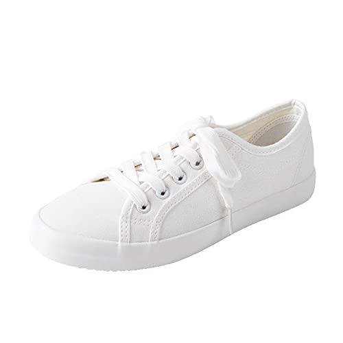 QBLDX Zapatillas de Lona Clásicas Unisex Zapatillas Bajas de Mujer Zapatos Casuales con Cordones,White-4uk