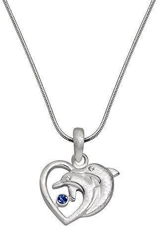 Perlkönig Kette Halskette | Damen Frauen | Silber Farben | Herz Delphin Anhänger | Glitzer Steine Weiß & Blau | Nickelabgabefrei