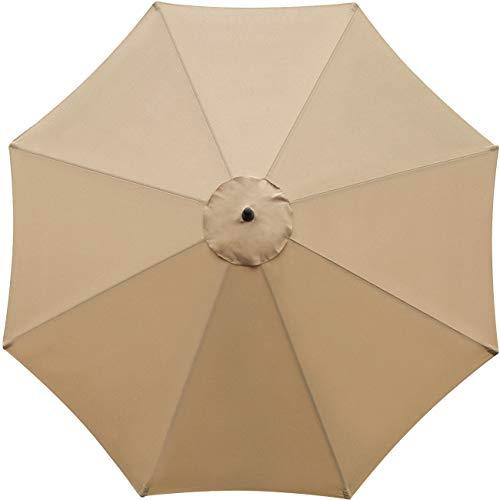 Sunnyglade 9ft Patio Umbrella Replacement Canopy Market Umbrella Top Outdoor Umbrella Canopy with 8 Ribs (Tan)