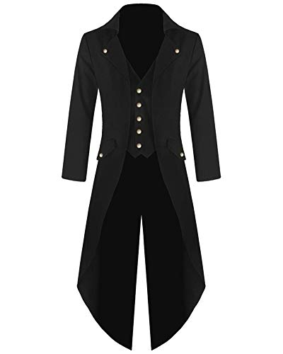 AnyuA Women Steampunk Vintage Tailcoat, Long Jacket Gothic Tuxedo Halloween Costume Cosplay Black M