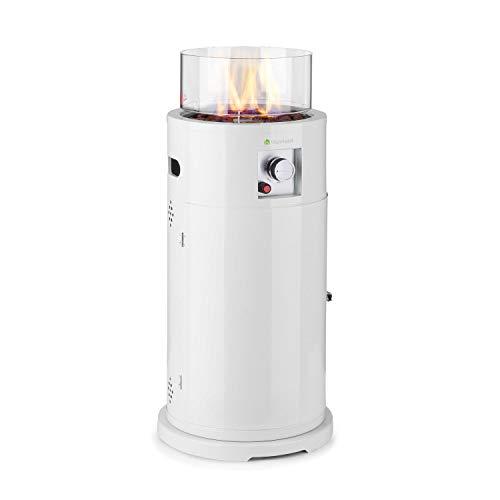 blumfeldt Lavastone Terrassenheizer Freiluftheizung, 30.000 BTU / 8,8 kW, 360° FireView: Brennerzylinder aus Temperglas, elektronische Zündung, Edelstahlbrenner, pulverbeschichteter Stahl, weiß