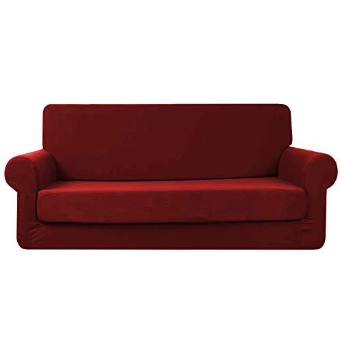 Topchances Copridivano in tessuto di poliestere elasticizzato, per divani, stile moderno, con copertura separata per il cuscino, 2 pezzi, Tela, Vino rosso, 3 posti