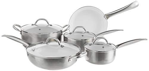 Oster Montecielo 9pc Aluminum Cookware Set, Metallic Titanium, 9 Piece
