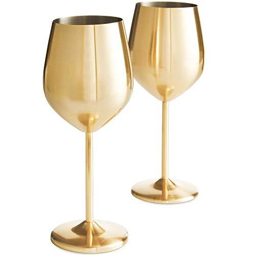 VonShef 2-teiliges Set Weingläser Edelstahl (Gold)