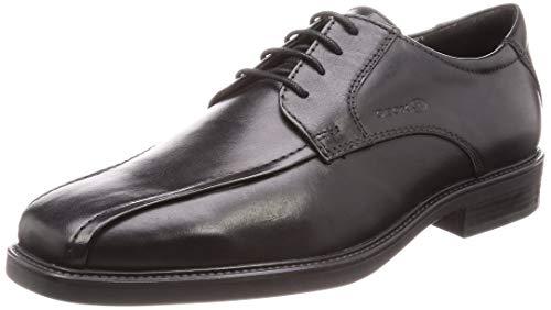 Geox U844VB Brandolf Eleganter Herren Business Schuh, Anzugschuh, Schnürhalbschuh, Derbyschnürung, Gummisohle, atmungsaktiv schwarz (Black), EU 46
