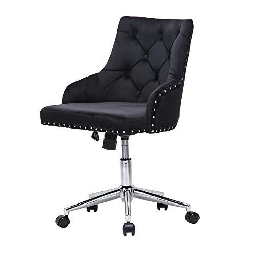 Velvet Office Chair Ergonomic Desk Chair with Wheels 360° Swivel Work Chair Height Adjustable Office Chair with Arms Computer Chair for Home Office (Velvet Button Black)