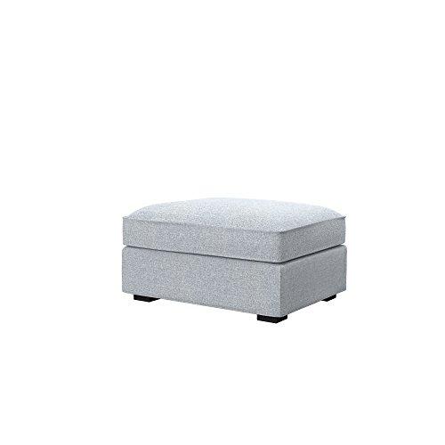 Soferia Bezug fur IKEA KIVIK Hocker, Stoff Naturel Light Grey