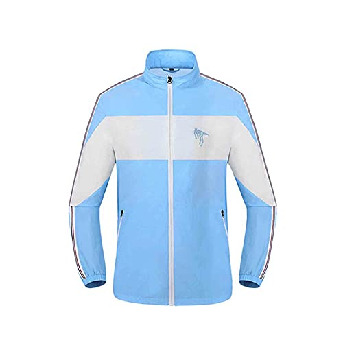 Giacca Abbigliamento con Aria Condizionata Ventola Traspirante Poliestere con USB Esterno,Blue,L