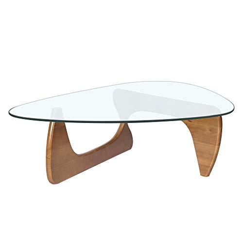 Beistelltisch dreieckig, Couchtisch Glas mit Massivholzsockel, Kaffetisch, Tisch für Wohnzimmer, Terrasse, Arbeitszimmer, Büro