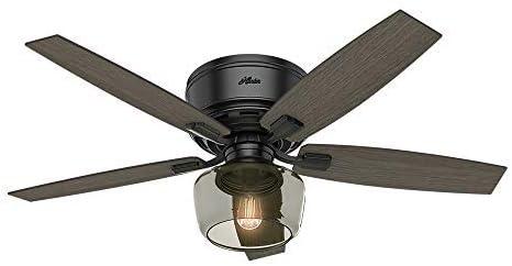 "2021 Hunter Bennett popular Indoor Low Profile Ceiling Fan with LED Light outlet online sale and Remote Control, 52"", Matte Black outlet online sale"