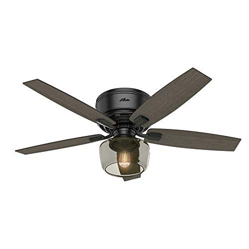 "Hunter Bennett Indoor Low Profile Ceiling Fan with LED Light and Remote Control, 52"", Matte Black"