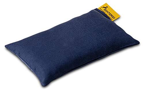 SANTERGO ökologisch-ergonomische Maus-Pad Handgelenkauflage mit Bio-Hirsespreu gefüllt, zur Entlastung des Handgelenks beim Arbeiten mit der Maus, aus natürlichem TENCEL-Stoff (blau)