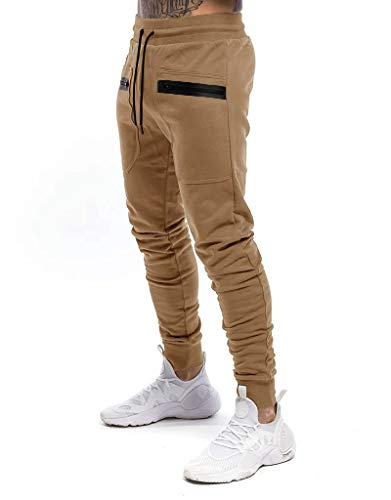 Yidarton Herren Jogginghose Sporthose Baumwolle Sweat Pants Trainingshose Jungen Slim Fit Freizeithose Joggers Streetwear (Khaki, m)