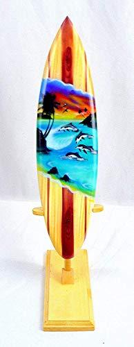 Asia Design Miniatur Surfboard Dekosurfboard Surfbrett Holz Wellenreiten Höhe 20 cm inkl. Holzständer Dekoration Nr 9