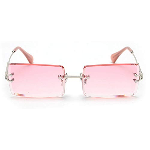 MINCL/Fashion Small Rectangle Sunglasses Women Ultralight Candy Color Rimless Ocean Sun Glasses (silver&pink)