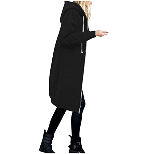 Sudadera larga para mujer con cremallera y capucha para otoño e invierno, estilo elegante, con forro largo, A-negro., 5X-Large