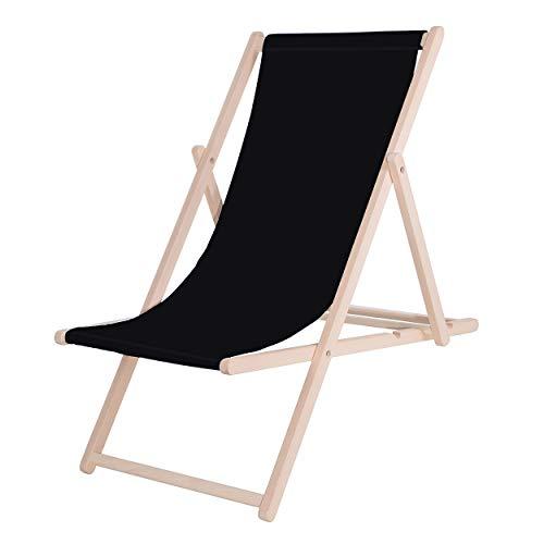 SPRINGOS Liegestuhl|DIY|Holz|Sonnenliege|Klappbar|Relaxsessel|Gartenliege|Entspannung (Schwarz)
