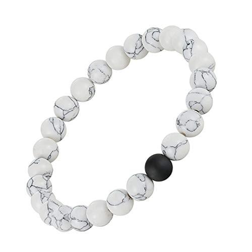 Pulsera Brazalete, Joyeria Regalo, Distance Bracelet White & Black Yin Yang Beads Bracelet For Women Men Couples Valentine's Day Jewelry Gifts R22