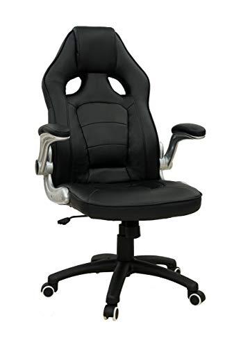 Pokar Silla de gaming deportiva, silla de oficina para jugadores de PC, silla de escritorio con altura ajustable, silla giratoria, soporta hasta 180 kg, negro