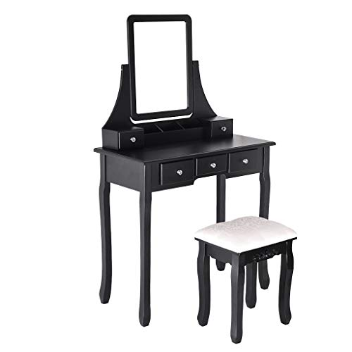 WM & MW Vanity Set with Mirror & Soft Cushioned Stool Dressing Table Vanity Makeup Table 5 Drawers Movable Best Furniture (Black)